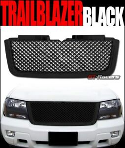 For 2006 2009 Chevy Trailblazer Lt Blk Luxury Mesh Front Bumper Grill Grille Abs