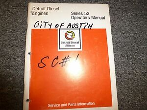 Detroit Diesel 53 Series 3 53 4 53 6v53 Engine Owner Operator Maintenance Manual