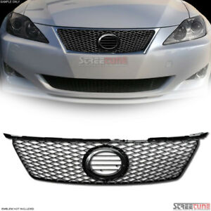 For 06 08 Lexus Is250 Is350 Is F Style Mesh Bumper Grill Grille Emblem Base Blk