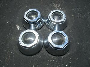 1975 To 1991 Lincoln Center Caps Hubcaps For Turbine Alloy Wheel Set