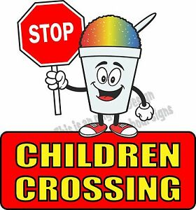 Stop Children Crossing Vinyl Decal 24 Concession Ice Cream Food Truck Cart