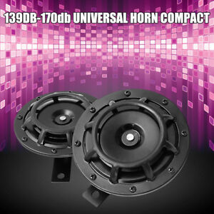Black 139db Super Loud Blast Tone Grille Grill Mount 12v Electric Compact Horn