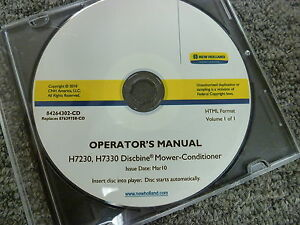 New Holland H7230 H7330 Discbine Mower Conditioner Owner Operator Manual Cd