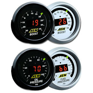 Aem 2 Gauges 52mm Combo Kit Set Oil Fuel Pressure Turbo Boost 30 50psi