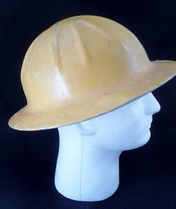 Vtg Aluminum Construction Yellow Full Brim Hard Hat Harness Stamped Mcgraw Co