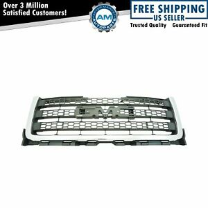 Front Matte Gray Honeycomb W Chrome Molding Grille For Gmc Pickup Truck New