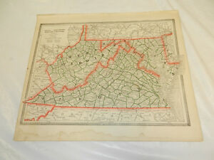 1884 Cram Antique Color Map Va Wv Md De Backed With Ky Tn