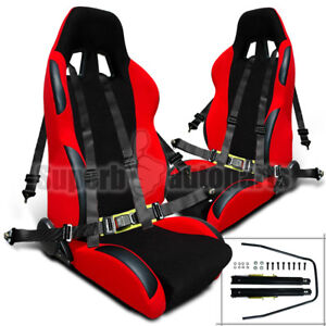 Pair Black Racing Seat Belts 4 Point 4pt Safety Harness Black Red Racing Seats