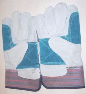 12 Pr Double Palm Canvas Back Split Shoulder Leather Work Gloves Size Large