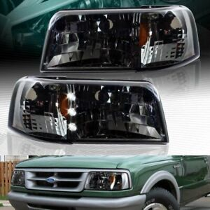 Smoke Lens Led Head Lights 1 Piece W Amber Reflector Lamps Fit 93 97 Ford Ranger