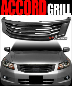 For 2008 2010 Honda Accord Blk Mu Style Badgeless Front Bumper Grill Grille Abs