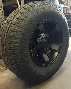 17 Xd Rockstar 2 Black Wheels 34 Toyo At2 Tires 8x6 5 Chevy Gmc Dodge Ram 8lug