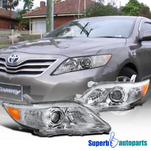 Fit 2010 2011 Toyota Camry Projector Headlights Crystal Clear W Amber Reflector