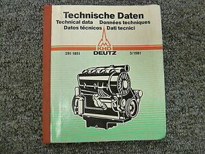 March 1981 Deutz Diesel Engine Master Shop Service Technical Data Manual Book