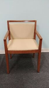 Knoll Ricchio New Wood Arm Guest Chairs With Upholstered Seat Back
