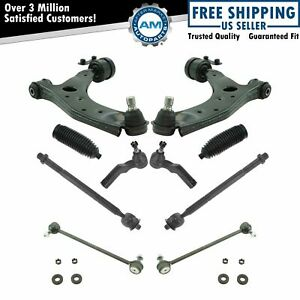 10 Piece Steering Suspension Kit Control Arms W ball Joints Tie Rods End Links