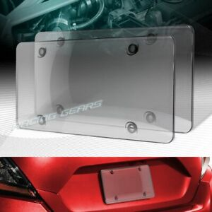 2 X Smoke Tinted Bubble Shield Protector License Plate Frame Cover Front Rear