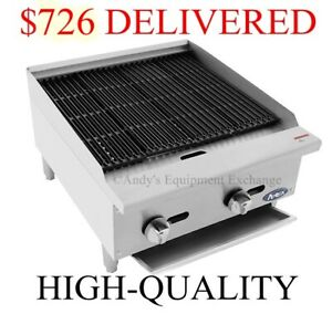 24 Inch 2 Foot Wide Radiant Char Broiler Natural Gas Table Top Grill 70k Btu s