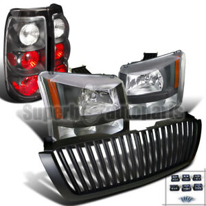 2003 2005 Silverado Headlights Bumper Lamp Tail Lamps Vertical Hood Grille Black