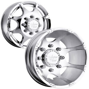 Set Of 4 Vision 715 Crazy Eightz Dually 17x6 5 8x210 Chrome Wheels Rims