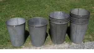 6 Large Old Tapered Galvanized Sap Buckets Original Maple Syrup W W