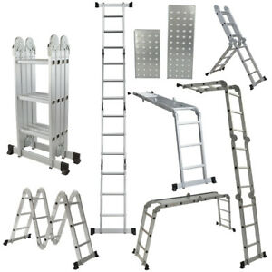 Multi Purpose Aluminum Folding Step Ladder 12 5ft Foldable Scaffolding Ladders