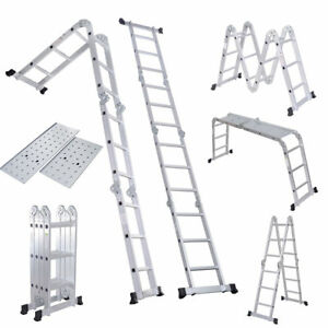 330lb 15 5ft Step Platform Multi Purpose Aluminum Folding Scaffold Ladder 15 5