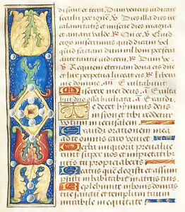 Illuminated Manuscript Book Of Hours Leaf Unusual Floral Gemstone Motif Gold
