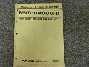 Mikasa Mvcr400g Mvcr400d Compactor Parts Catalog Owner Operator Manual
