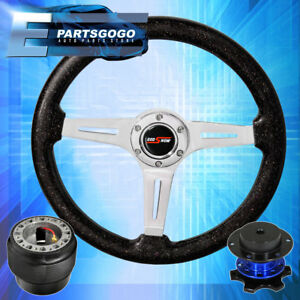 Metallic Black Deep Dish Steering Wheel Blue Quick Release For 89 05 Eclipse