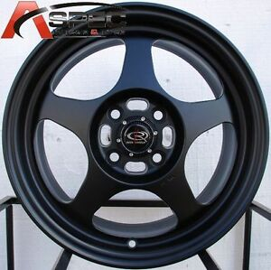 15x7 Rota Slipstream 4x100 40 Black Wheels Set Of 4