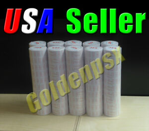 10 Tubes 100 Rolls Brand New White Labels For Mx 5500 Price Label Gun