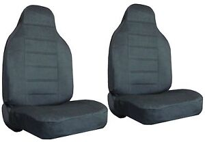 Charcoal Quilted Velour Encore High Back Bucket Car Truck Suv Seat Covers Chevy