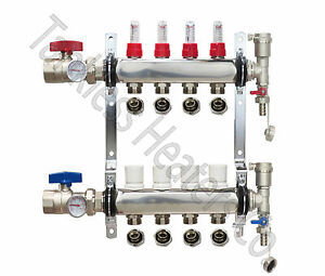 4 branch Pex Radiant Floor Heating Manifold Stainless W 1 2 Connectors