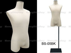 Male Body Form With Linen White Jesery Cover m1wl jf bs 05bk