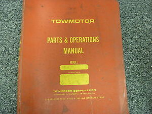 Towmotor 960p Forklift Lift Truck Parts Catalog Owner Operator Manual Book