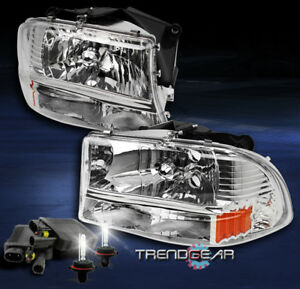 1997 2004 Dodge Dakota 1998 2003 Durango Crystal Chrome Headlight W 8k Xenon Hid