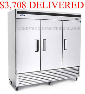 Three 3 Door Stainless Steel Refrigerator Commercial Restaurant Nsf Food Cooler