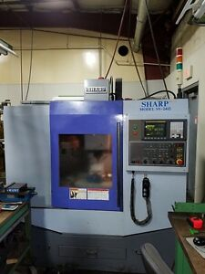 2005 Sharp Sv 2412 Cnc Mill 8000 Rpm 10 Tools Cat 40 Fanuc 0i
