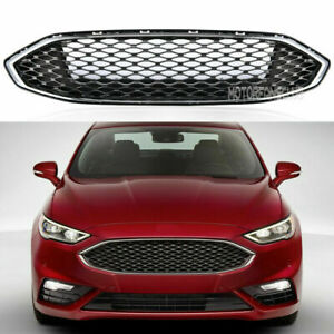 For Ford Fusion 2016 2017 Front Grill Gloss Black Abs Mesh Honeycomb Trim Mfc
