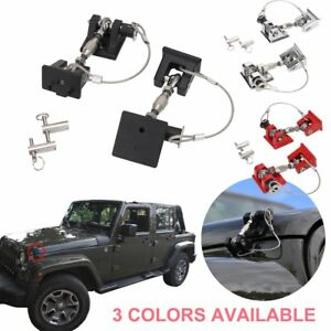 1 Pair Engine Hood Lock Latches Catch Locking Kit For Jeep Wrangler Jk 2007 2017
