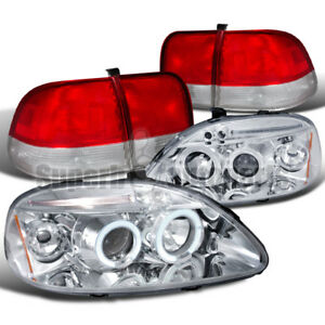 For 1996 1998 Civic 4dr Led Halo Chrome Projector Headlight Tail Lights Red