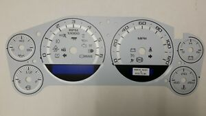 07 14 Custom Escalade Dash Cluster White Gauge Face Inlay Only With Silver Bands