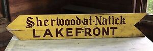 1950 S Antique Sherwood At Natick Lakefront Wood Sign Vintage Massachusetts