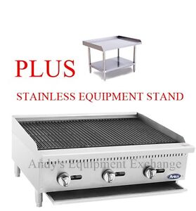 36 Wide Natural Gas Commercial Char Rock Food Nsf Grill Broiler Plus Stand