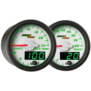 Glowshift White Green Maxtow Gauges Kit 60 Psi Boost 2200 F Egt Pyrometer