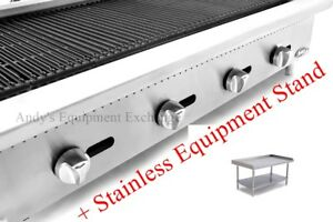 48 4 Foot Wide Propane Lp Gas Commercial Char Rock Food Grill Broiler And Stand