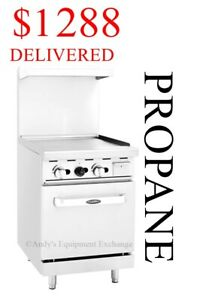 24 Inch 2 Foot Wide Commercial Restaurant Propane Gas Lp Griddle With Oven Nsf
