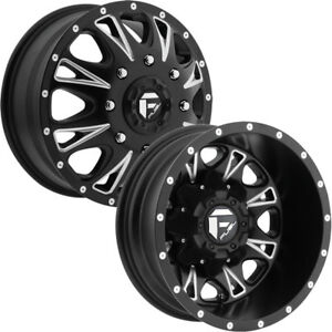 Set Of 4 Fuel D513 Throttle Dually 17x6 5 8x6 5 Black Milled Wheels Rims
