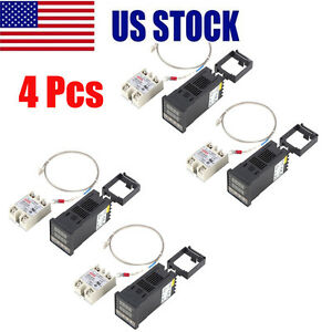 4pcs Digital Pid Temperature Control 40a Ssr K Thermocouple 0 To 400
